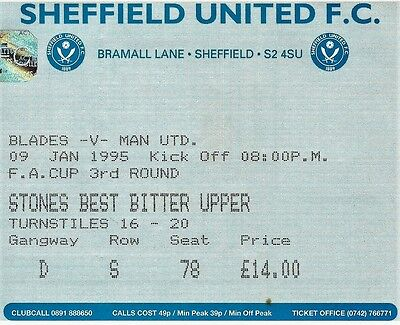 Ticket : Sheffield United v Manchester Utd - FA Cup 3rd Round - 09 January 1995