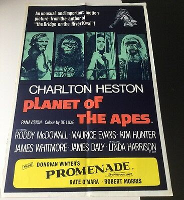 "1968 ORIGINAL UK FILM POSTER ""PLANET OF THE APES"" CHARLTON HESTON,RODDY McDOWALL"