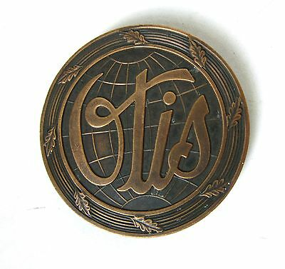 "Lot E-Vtg.2""+ Round OTIS ELEVATOR CO.GLOBE-Design Nameplate PLAQUE/Emblem-Copper"