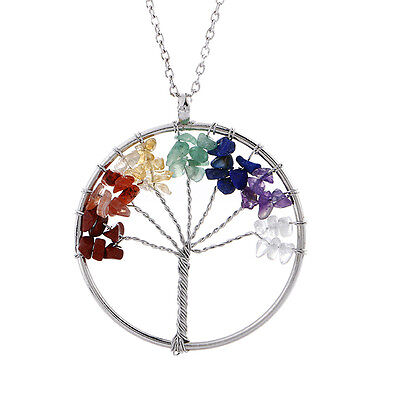 Women Crystal Natural Stone Wisdom of Tree Quartz Pendant Necklace Jewelry Gift
