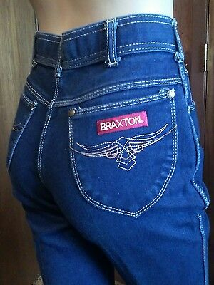 VINTAGE 1980s 70s Braxton High Waist Stretch Women's Blue Jeans size 26-27 Denim