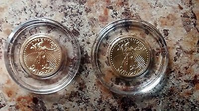Lot Of 2 - 2016 American Gold Eagle $5 1/10 Oz Us Mint Bullion Coins