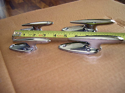 Boat Cleats (4) Chrome Futuristic Shaped Cleats For Wooden Boats!