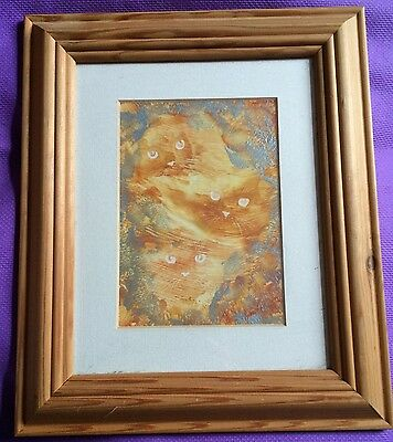 Alice In Wonderland Cheshire Cat Encaustic Art Framed Original Picture