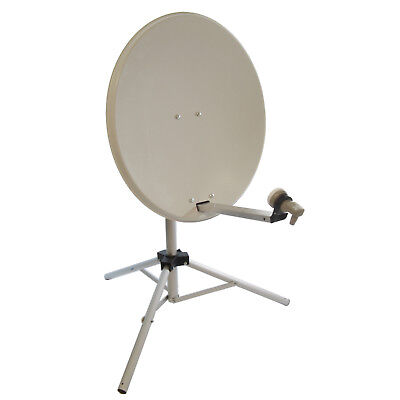 Portable 65cm White Satellite Dish Kit with tripod, LNB and satfinder
