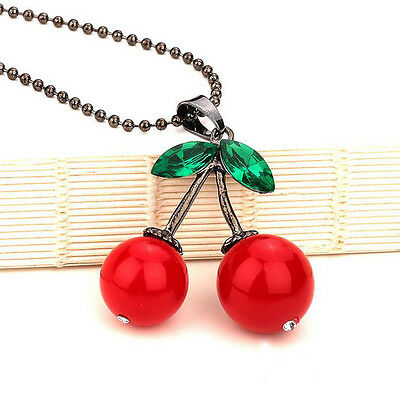 Women Girls Party Cloth Fresh Red Cherry Green Crystal Beads Long Chain Necklace