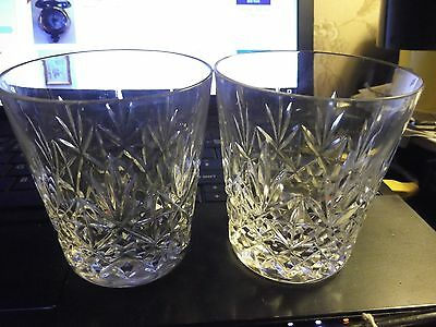 Pair of Cut Glass Crystal Whisky Tumblers.