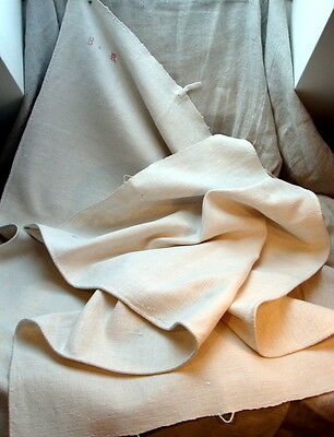 2 Early 20Th C.  Vintage French  Monogrammed (Br) Heavy Linen Kitchen Towels