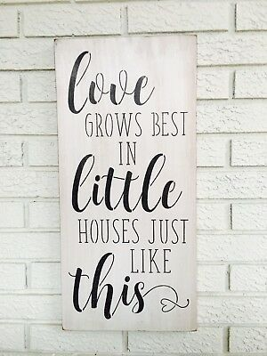 Large Rustic Wood Sign Love Grows Best In Houses Just Like This