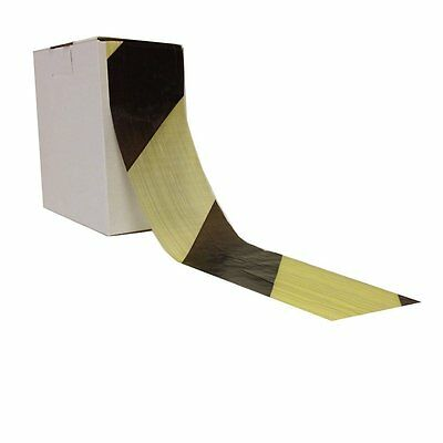 2 Rolls of HAZARD WARNING BARRIER TAPE Non Adhesive Black & Yellow 72mm x 500m