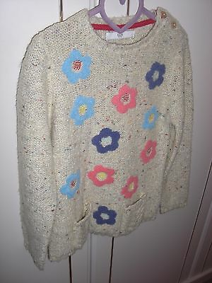Girls Beige with floral prints Long Sleeve Jumper from M&S Kids. Size 6-7 Years.