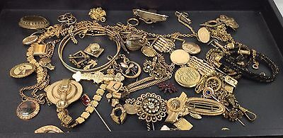 Vintage Victorian Gold Filled LOT Watch Chains Lockets Pins Parts (v12)