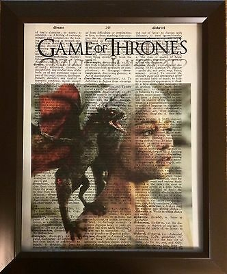 Game of Thrones Vintage Dictionary Page Altered Art Print Poster Picture