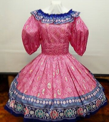 Hot Pink And Royal Blue Square Dance Party Dress