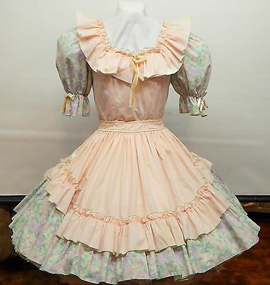 2 Pc Pink And Floral Square Dance Dress