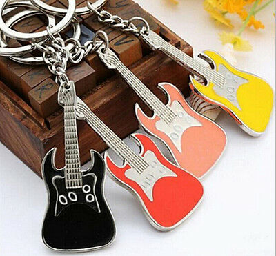 Cute Keychain Mini Color Guitar Key Ring Keyring Chain Crystal Gift 1 piece