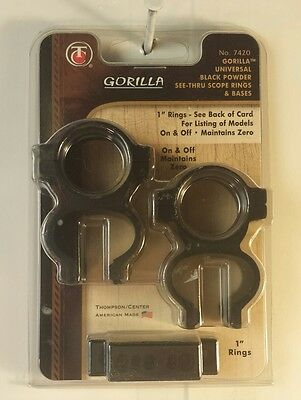 NEW T/C Gorilla Grip See Thru Rings & Bases Muzzleloader #7420 Free USA Shipping