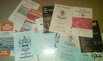 JOBLOT 1970's RUGBY LEAGUE UNION PROGRAMMES 1972 HUDDERSFIELD EXETER WIDNES HULL