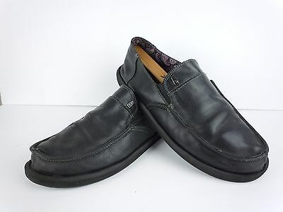 Mens Sanuk Black Leather Slip On Loafers Sneakers Size 13