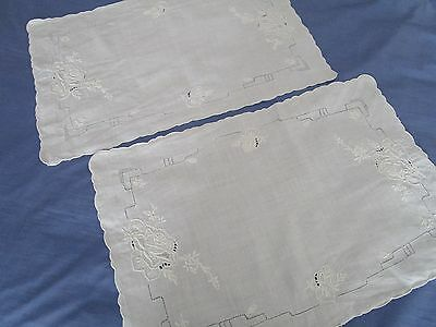 2 Vintage  white linen embroidered tray cloths