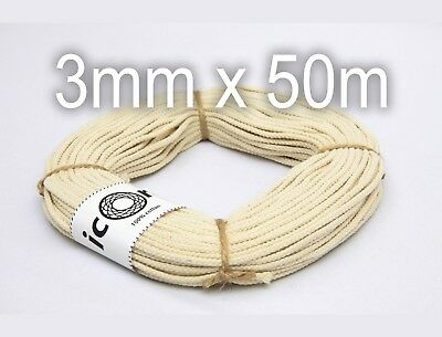 Cotton Cord 3mm 50m (54yds) - Braided Cotton Macrame Cord for Macrame Projects