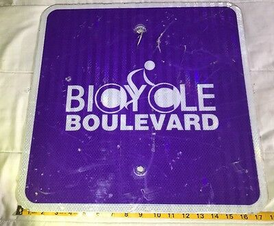 "BIKE ROUTE ROAD STREET SIGN - REFLECTIVE REAL TRAFFIC SIGN 18x18"" BIKE BOULEVARD"