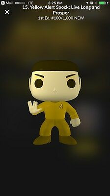 2017 Quidd Star Trek: Yellow Alert Spock 100 / 1000 Pop! Funko Digital cZ