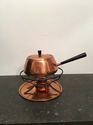 Traditional Vintage Large Copper Fondue By Spring Of Switzerland