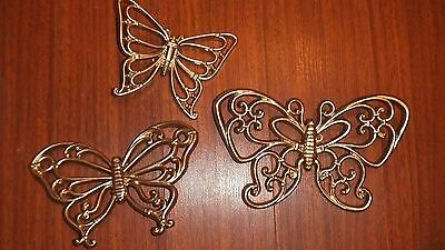 3 Home Interiors Butterfly Plaques Wicker Look Resin Repainted Gold Pretty EUC