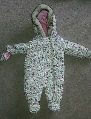 Girls floral snowsuit 3 to 6 months BHS
