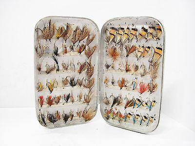 Vintage Hardy 84 x Clip Fly Box With 84 x Trout Flies