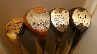 4 Vintage wooden headed woods, 2 Wilson  2 unknown