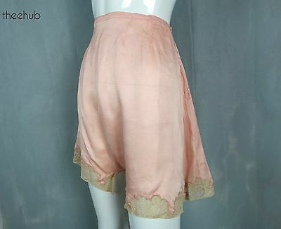 Vtg 20s 30s Pearl Button Gusset Fastening Silk Peach Satin Long Cami Knickers
