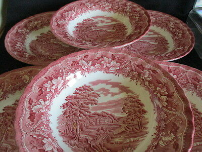 Barratts Transfer Ware Pink & White Country Scenes Soup bowls x 6