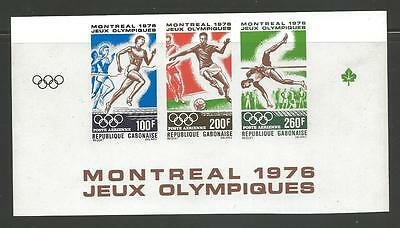 Gabon 1976 Olympic games of montreal XF NH (RARE IMPERF Strip of 3) Airmail