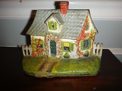 Antique Hand Painted Cast Iron Doorstop Signed HW Guhing Cape Cod Cottage