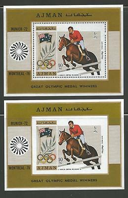 Ajman Mint VF NH-1976 Olympic games Montreal Horses Perf + Imperforated Sheet
