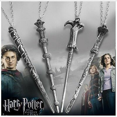 Harry Potter Characters Magical Wand Necklace Pendant Set (US Seller)