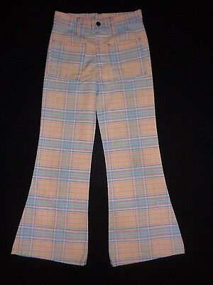 Garomette Vintage 70s Girls Pastel Plaid Bell Bottom Pants EUC