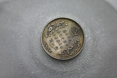 India Half Rupee 1906 Silver Nice Details Low Mintage A69 #9691