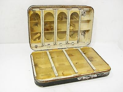 Vintage Antique Hardy The Halford Japanned Sectioned Fly Box & Trout Flies.
