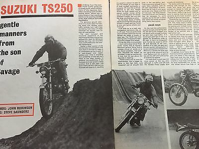 Suzuki Ts250 Trail - Original 3 Page B/w 1974 Motorcycle Article / Road Test
