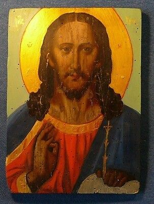 Old 18-19th century Jesus Russian Icon Wood Oil Gilding