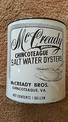 Mccready Bros Oyster Tin/can Chincoteague