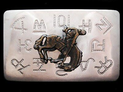 KD29110 VINTAGE 1970s CHAMBERS **RODEO COWBOY & RANCH BRANDS** WESTERN BUCKLE