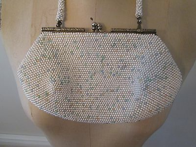 Vintage White and Pastel Beaded Purse Handbag with Art Nouveau Silver Frame