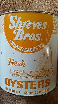 Shreves Bros Oyster Tin/can Chincoteague