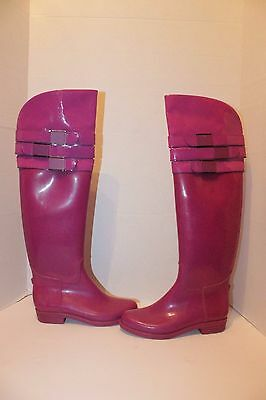 Calvin Klein Ava Purple Over The Knee Rubber Rain Boots Women's Sz 6