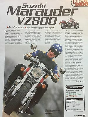 Suzuki Vz800 Marauder - Original 1 Page 1997 1St Ride Motorcycle Article