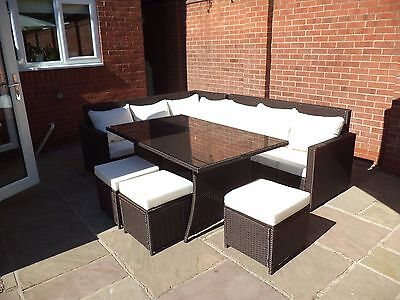 8 seat L shaped rattan style Garden Dining Furniture (L15)